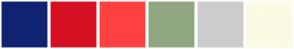 Color Scheme with #102372 #D61123 #FF4040 #90A681 #CCCCCC #FCFBE3