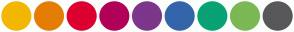 Color Scheme with #F2B701 #E57D04 #DC0030 #B10058 #7C378A #3465AA #09A275 #7CB854 #58585A