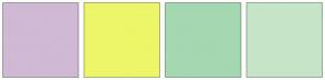 Color Scheme with #CFB9D4 #EDF668 #A4D8B1 #C6E5C8