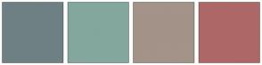 Color Scheme with #6E8083 #83A79D #A39388 #AE6767