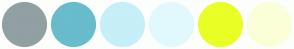 Color Scheme with #91A0A3 #68BCCC #C6EFF7 #E1F9FD #E9FF26 #FBFFD8