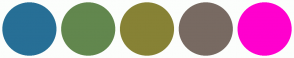 Color Scheme with #276F96 #62874E #878235 #786A62 #FF00CE