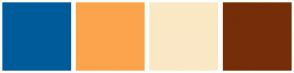 Color Scheme with #005B9A #FCA44C #FAE8C5 #752E08