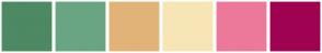 Color Scheme with #4D8963 #69A583 #E1B378 #F7E5B5 #EC799A #9F0251