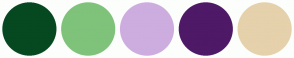 Color Scheme with #064920 #7FC37B #CDADDF #4E1967 #E5D1AB