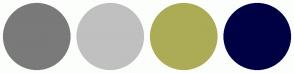 Color Scheme with #7A7A7A #C0C0C0 #ACAC56 #000044