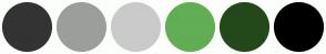 Color Scheme with #333333 #9C9E9C #CACACA #61AE54 #23491B #000000