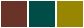 Color Scheme with #6A3328 #004D48 #988600