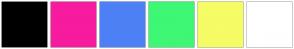 Color Scheme with #000000 #F71B9F #4E80F5 #3EF775 #F5FC65 #FFFFFF