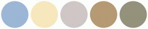 Color Scheme with #9CB6D6 #F7E7BD #CEC7C6 #B59A73 #94927B