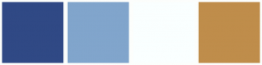 Color Scheme with #304985 #81A5CC #FAFFFF #BF8D4B