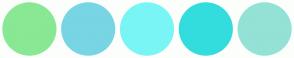 Color Scheme with #89E894 #78D5E3 #7AF5F5 #34DDDD #93E2D5