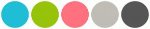Color Scheme with #1FBED6 #97C30A #FF717E #C0BCB6 #555555