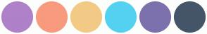 Color Scheme with #AF81C9 #F89A7E #F2CA85 #54D1F1 #7C71AD #445569