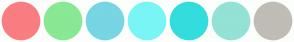 Color Scheme with #F97D81 #89E894 #78D5E3 #7AF5F5 #34DDDD #93E2D5 #C0BCB6