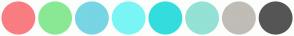 Color Scheme with #F97D81 #89E894 #78D5E3 #7AF5F5 #34DDDD #93E2D5 #C0BCB6 #555555