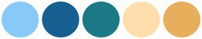 Color Scheme with #88CAF7 #166092 #1C7987 #FFDEAD #E7AF5D