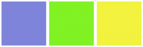 Color Scheme with #7F84DB #81F224 #F2F23F