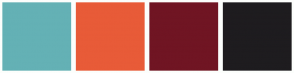 Color Scheme with #64B1B5 #E85B38 #701523 #1E1C1F