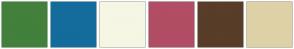Color Scheme with #42803B #146C9C #F6F6E4 #B14D64 #583D28 #DFD1A7