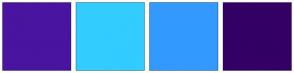 Color Scheme with #4814A0 #33CCFF #3399FF #330066