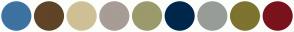 Color Scheme with #3D72A1 #604427 #CFC096 #A79D96 #9B9A6D #00274C #989C97 #7E732F #7A121C