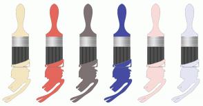 Color Scheme with #F4E6C0 #E3675C #7E7171 #454CA1 #F8DBD9 #E4E5F3