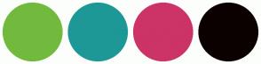 Color Scheme with #72BA3E #1D9897 #CC3366 #0C0101