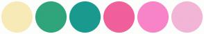Color Scheme with #F8EAB7 #30A57B #1A9A8E #F0609B #F884C8 #F2B5D6
