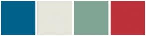 Color Scheme with #00628B #E6E6DC #81A594 #BD313A