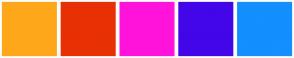 Color Scheme with #FFA71B #E83005 #FF13DB #4306E8 #138FFF