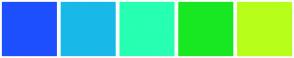 Color Scheme with #1E4FFF #18B9E8 #27FFB2 #18E821 #B7FF1A