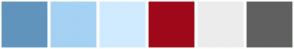 Color Scheme with #6194BC #A5D1F3 #D0EAFF #9F081A #ECECEC #606060