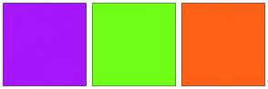 Color Scheme with #A616FF #6FFF16 #FF6016