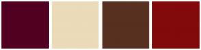 Color Scheme with #520021 #EBDBB9 #573020 #830A0A