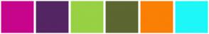 Color Scheme with #C7048C #542563 #98D143 #5B6631 #FA7F05 #1EF7F7