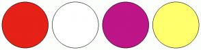 Color Scheme with #E62117 #FFFFFF #BE1588 #FFFF6C