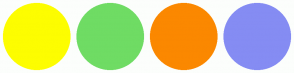 Color Scheme with #FDFD00 #6FDC64 #FB8800 #858CF3