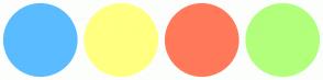 Color Scheme with #5ABCFF #FFFF80 #FF795A #B2FF7C
