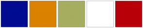 Color Scheme with #000C91 #DB8100 #A6AD5F #FFFFFF #B80009