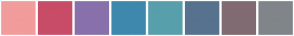 Color Scheme with #F29C9C #C84C67 #8871AB #3D88AC #589FAC #57728E #806B73 #80858A