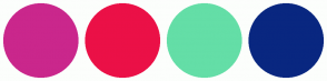 Color Scheme with #CA278C #EB1047 #64DEA7 #092780