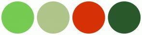 Color Scheme with #76CB52 #AFC58A #D53206 #29592C