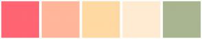 Color Scheme with #FF6573 #FFB69A #FFD9A2 #FFEBD1 #A9B591