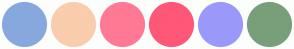 Color Scheme with #87A8DD #F9CDAD #FF7994 #FF5778 #9A99FB #789F79