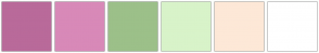 Color Scheme with #B96A9A #D889B8 #9CC089 #D8F3C9 #FDE8D7 #FFFFFF