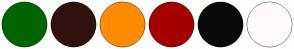 Color Scheme with #006400 #301110 #FF8C00 #A40000 #0A0A0A #FFFAFA