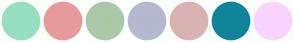 Color Scheme with #97DEC1 #E69A9A #ABC9A9 #B6B8CF #D9B2B2 #0F8499 #F8D4FF
