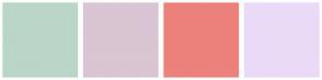 Color Scheme with #BAD6C8 #D9C5D3 #ED817B #EBDAF7