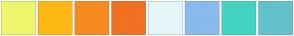 Color Scheme with #EEF66C #FDB813 #F68B1F #F17022 #E4F6F8 #8AB9ED #42D4C0 #62C2CC